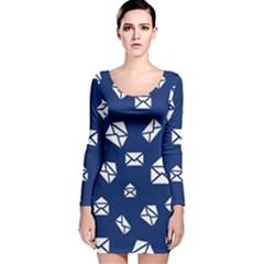 Envelope Letter Sand Blue White Masage Long Sleeve Velvet Bodycon Dress
