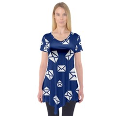 Envelope Letter Sand Blue White Masage Short Sleeve Tunic