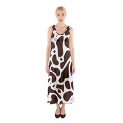 Dalmantion Skin Cow Brown White Sleeveless Maxi Dress