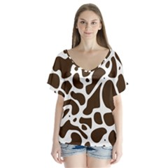 Dalmantion Skin Cow Brown White Flutter Sleeve Top