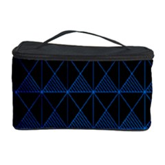 Colored Line Light Triangle Plaid Blue Black Cosmetic Storage Case
