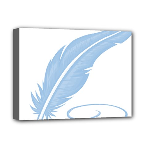 Feather Pen Blue Light Deluxe Canvas 16  x 12