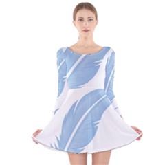 Feather Pen Blue Light Long Sleeve Velvet Skater Dress