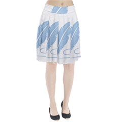 Feather Pen Blue Light Pleated Skirt