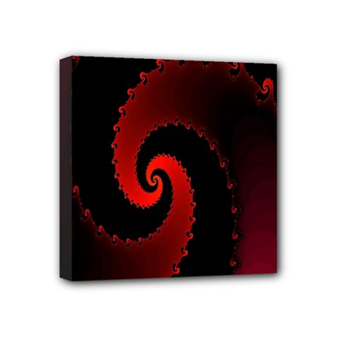 Red Fractal Spiral Mini Canvas 4  X 4