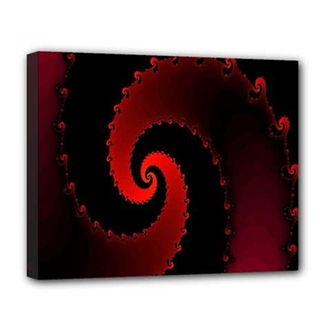 Red Fractal Spiral Deluxe Canvas 20  x 16