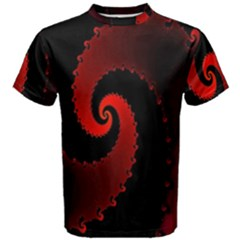Red Fractal Spiral Men s Cotton Tee