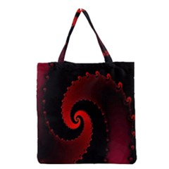 Red Fractal Spiral Grocery Tote Bag