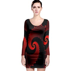 Red Fractal Spiral Long Sleeve Bodycon Dress
