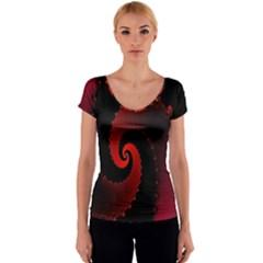 Red Fractal Spiral Women s V-Neck Cap Sleeve Top