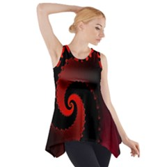 Red Fractal Spiral Side Drop Tank Tunic