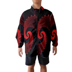 Red Fractal Spiral Wind Breaker (Kids)