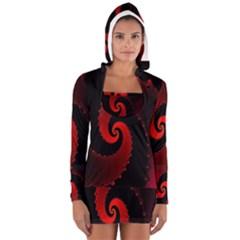 Red Fractal Spiral Women s Long Sleeve Hooded T-shirt