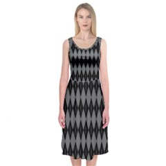 Chevron Wave Line Grey Black Triangle Midi Sleeveless Dress