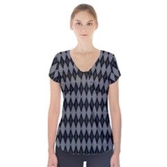 Chevron Wave Line Grey Black Triangle Short Sleeve Front Detail Top