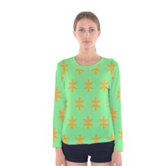 Flower Floral Different Colours Green Orange Women s Long Sleeve Tee