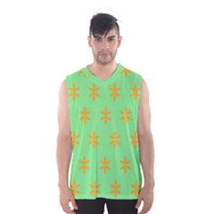 Flower Floral Different Colours Green Orange Men s Basketball Tank Top