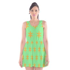 Flower Floral Different Colours Green Orange Scoop Neck Skater Dress