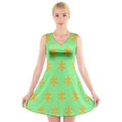 Flower Floral Different Colours Green Orange V-Neck Sleeveless Skater Dress
