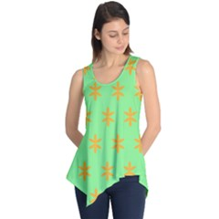 Flower Floral Different Colours Green Orange Sleeveless Tunic