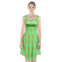 Flower Floral Different Colours Green Orange Racerback Midi Dress