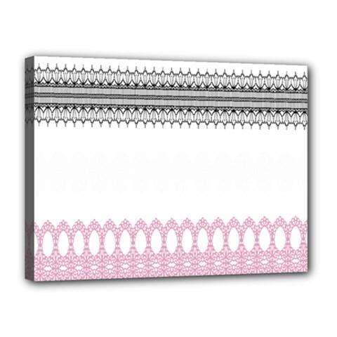 Crown King Quinn Chevron Wave Pink Black Canvas 16  x 12