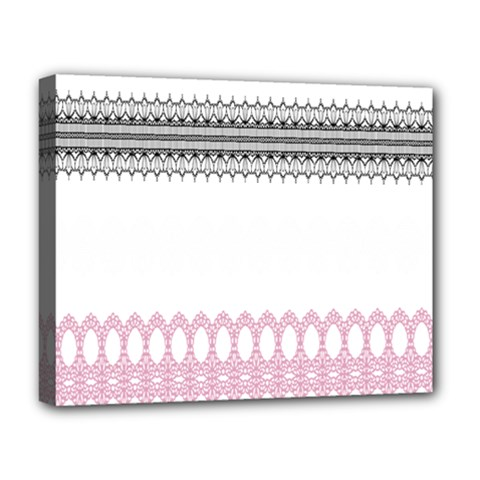 Crown King Quinn Chevron Wave Pink Black Deluxe Canvas 20  x 16