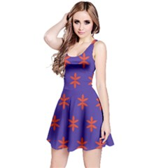 Flower Floral Different Colours Purple Orange Reversible Sleeveless Dress