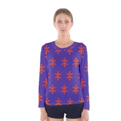 Flower Floral Different Colours Purple Orange Women s Long Sleeve Tee