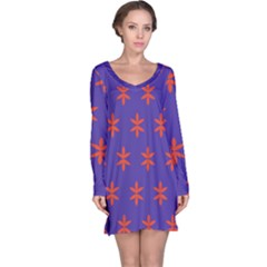 Flower Floral Different Colours Purple Orange Long Sleeve Nightdress