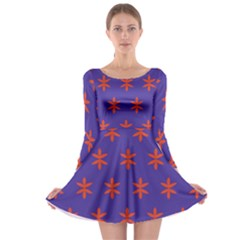 Flower Floral Different Colours Purple Orange Long Sleeve Skater Dress