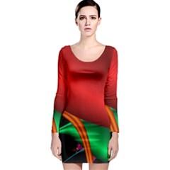 Fractal Construction Long Sleeve Bodycon Dress