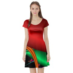 Fractal Construction Short Sleeve Skater Dress