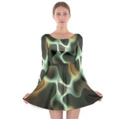 Colorful Fractal Background Long Sleeve Skater Dress
