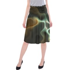 Colorful Fractal Background Midi Beach Skirt