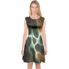 Colorful Fractal Background Capsleeve Midi Dress