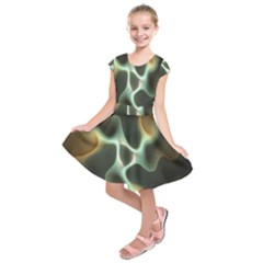 Colorful Fractal Background Kids  Short Sleeve Dress