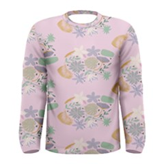 Floral Flower Rose Sunflower Star Leaf Pink Green Blue Men s Long Sleeve Tee