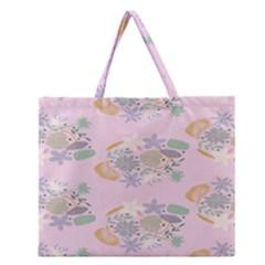 Floral Flower Rose Sunflower Star Leaf Pink Green Blue Zipper Large Tote Bag