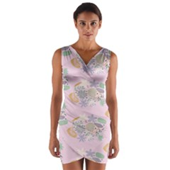 Floral Flower Rose Sunflower Star Leaf Pink Green Blue Wrap Front Bodycon Dress