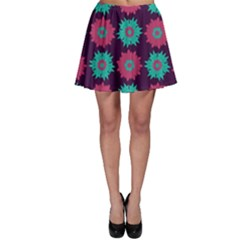 Flower Floral Rose Sunflower Purple Blue Skater Skirt