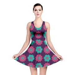 Flower Floral Rose Sunflower Purple Blue Reversible Skater Dress