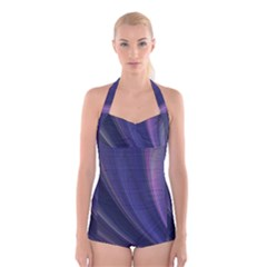 Purple Fractal Boyleg Halter Swimsuit