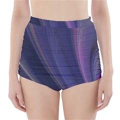 Purple Fractal High-Waisted Bikini Bottoms
