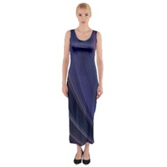 Purple Fractal Fitted Maxi Dress
