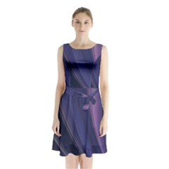 Purple Fractal Sleeveless Chiffon Waist Tie Dress