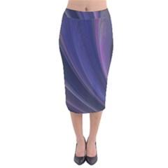 Purple Fractal Velvet Midi Pencil Skirt