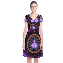 Hypocloid Short Sleeve Front Wrap Dress