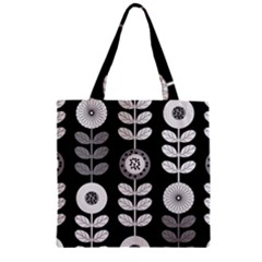 Floral Pattern Seamless Background Zipper Grocery Tote Bag