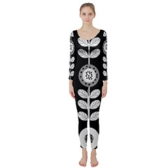 Floral Pattern Seamless Background Long Sleeve Catsuit